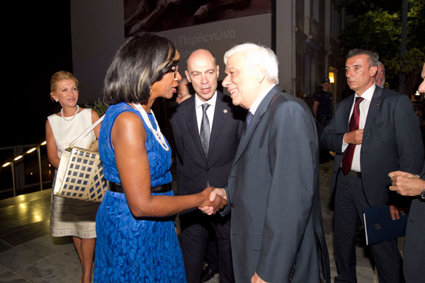 The President of the Hellenic Republic Mr. Prokopios Pavlopoulos and Paulette Brown, President-Elect, American Bar Association