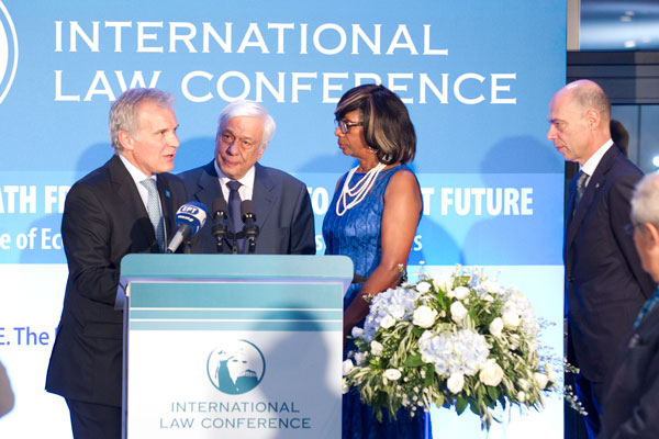 The President of the Hellenic Republic Mr. Prokopios Pavlopoulos, Paulette Brown, President-Elect, American Bar Association, Marcelo Bombau, Chair, American Bar Association Section of International Law and Simos Anastasopoulos, President, American-Hellenic Chamber of Commerce