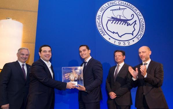 From left to right:  Elias Spirtounias, American-Hellenic Chamber of Commerce Executive Director; Alexis Tsipras, Prime Minister of the Hellenic Republic; George Serafeim, Harvard Business School Professor; John Moran, former Secretary General of the Ireland Department of Finance and European Investment Bank Director; and Simos Anastasopoulos, American-Hellenic Chamber of Commerce President